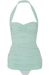 Norma Kamali Bill Mio Ruched Halterneck Swimsuit Mint