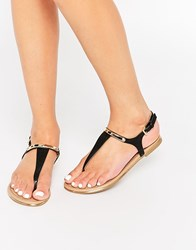 Call It Spring Gweleviel Toe Post Flat Sandals Black