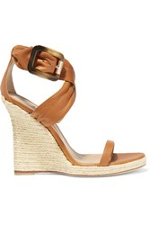 Burberry London Leather Espadrille Wedge Sandals Tan