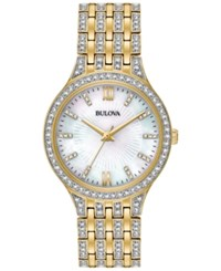 Bulova Women's Crystal Accented Gold Tone Stainless Steel Bracelet Watch 32Mm 98L234 No Color