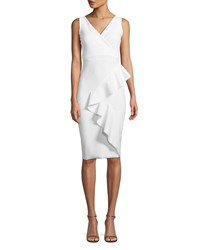 La Petite Robe Di Chiara Boni Ceren Asymmetric Ruffle Wrap Sheath Dress White