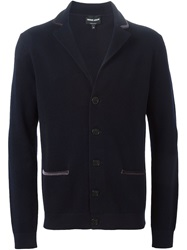 Giorgio Armani Velvet Piping Cardigan Blue
