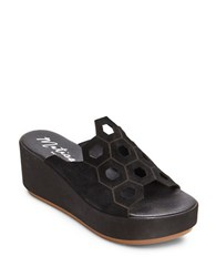 Matisse Cabrio Geometric Suede Slide Wedge Sandals Black