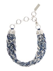 Max Mara Potente Plaited Sparkle Necklace Midnight Blue