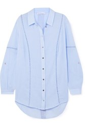 Heidi Klein San Marino Crochet Trimmed Cotton Crepon Shirt Light Blue