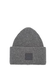 Acne Studios Pansy S Face Ribbed Knit Beanie Hat Grey