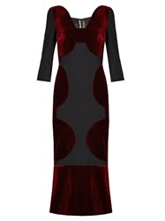 Roland Mouret Balden Velvet Panelled Midi Dress Black Multi