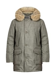 Woolrich Arctic Fur Trimmed Hooded Down Parka Grey