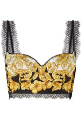 Versace Lace Trimmed Printed Silk Twill Bustier Top Black