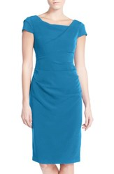 Adrianna Papell Women's Ruched Matte Stretch Crepe Sheath Dress Regatta Blue