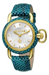 Roberto Cavalli Women's By Franck Muller Snake Leather Strap Watch 36Mm Teal Silver Guilloche Gold