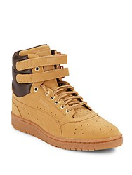 Puma Leather Blend Perforated High Top Sneakers Orange