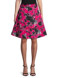 Imnyc Isaac Mizrahi Printed High Waist Circle A Line Skirt Raspberry