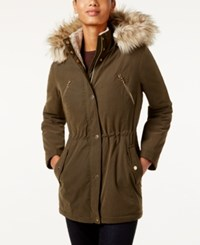 Nautica Faux Fur Trim Hooded Parka Olive