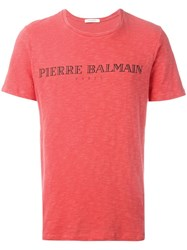 Balmain Pierre Logo Print T Shirt Red