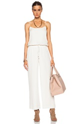 Haute Hippie Cross Back Silk Jumpsuit In White