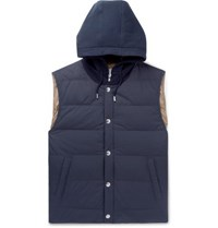 Brunello Cucinelli Layered Quilted Shell And Stretch Cotton Jersey Hooded Down Gilet Navy