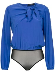 Andrea Marques Pussybow Silk Bodysuit Blue