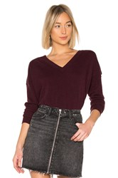 Autumn Cashmere Relaxed V Neck Sweater Burgundy
