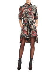 Alexis Mabille Trench Dress In Peony Print Green