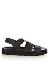Lanvin Multi Strap Leather Sandals Black