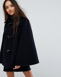 Gloverall Wool Blend Duffle Cape With Detachable Hood Navy Dress Gordon