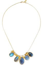 Pippa Small 18 Karat Gold Labradorite Necklace Gold Blue