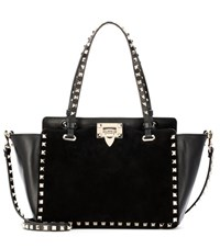Valentino Garavani Rockstud Leather And Suede Tote Black