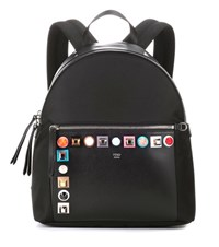 Fendi Studded Leather And Canvas Backpack Black