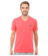 Adidas Ultimate S S V Neck Tee Shock Red Dark Grey Heather Solid Grey Men's T Shirt Pink