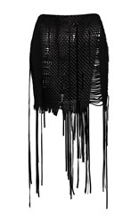 Magda Butrym Fringe Woven Mini Skirt Black