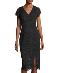 Tahari By Arthur S. Levine Corded Lace V Neck Dress Black
