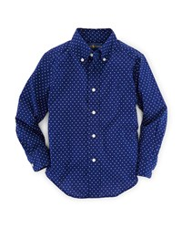 Ralph Lauren Childrenswear Long Sleeve Polka Dot Poplin Shirt Blue Size 2 7 Girl's Size 4 Dot