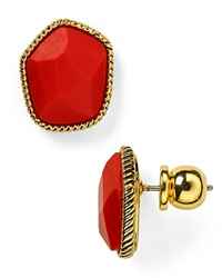 Diane Von Furstenberg Evie Button Stud Earrings Coral