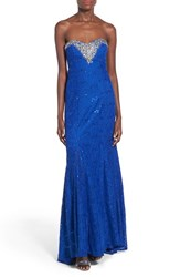 Junior Women's Sequin Hearts 'Sara' Strapless Lace Gown