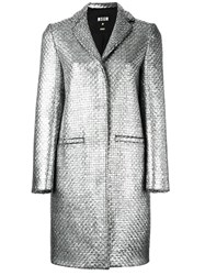 Msgm Woven Single Breasted Coat Metallic