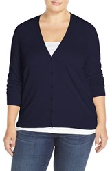 Sejour Plus Size Women's V Neck Cardigan Navy Peacoat