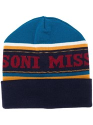 Missoni Knitted Logo Hat Blue