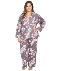 Carole Hochman Plus Size Packaged Flannel Pajama Ribonned Carnations Women's Pajama Sets Multi