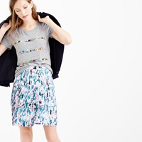 J.Crew Two Tier Pleated Skirt In Watercolor Floral