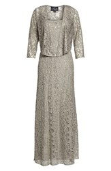 Alex Evenings Sequin Lace Jacket Gown Pewter Frost