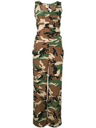 P.A.R.O.S.H. Simetic Camouflage Jumpsuit Women Silk L Brown