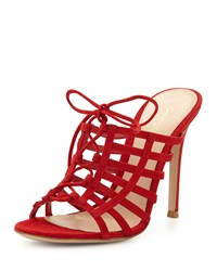 Gianvito Rossi Caged Suede Mule Pump Tabasco Red Women's Size 39.5B 9.5B