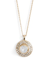 Melinda Maria 'Jade' Pave Pendant Necklace Moonstone Gold