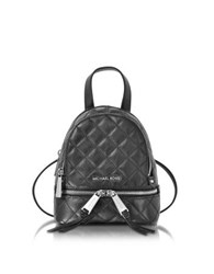 Michael Kors Rhea Zip X Small Black Quilted Leather Messenger Backpack