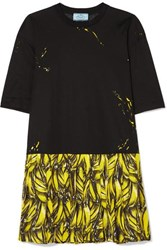 Prada Pleated Printed Crepe De Chine Mini Dress Black