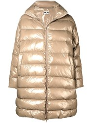 Hache Oversized Puffer Coat Nude And Neutrals