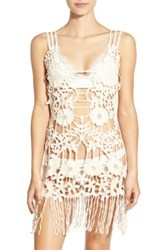For Love And Lemons Valencia Crochet Lace Cover Up Beige