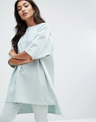 Ellesse Oversized Sweat T Shirt With Stepped Hem And Tonal Print Green