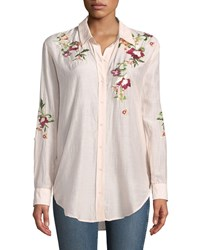 Philosophy Embroidered Button Front Blouse Pink